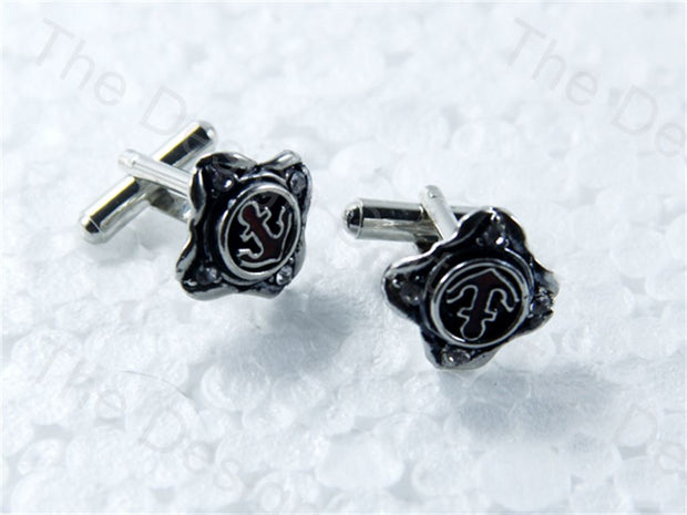 Square Navy Seal Design Silver Black Metallic Cufflinks (1364873707554)
