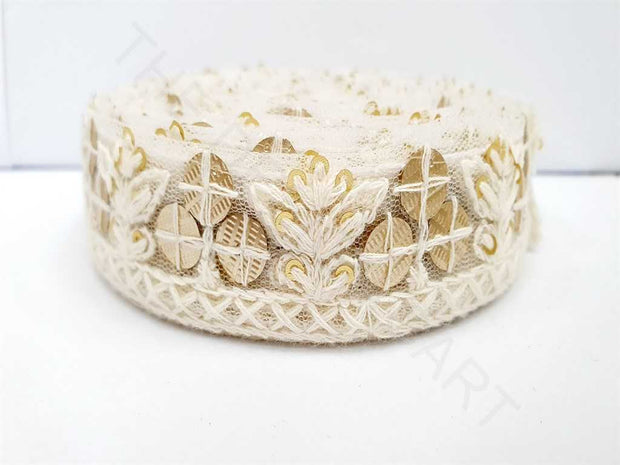 White Sequins and Thread Work 2 Dyeable Embroidered Border | The Design Cart