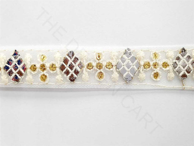 White Golden Thread Work Dyeable Embroidered Border | The Design Cart
