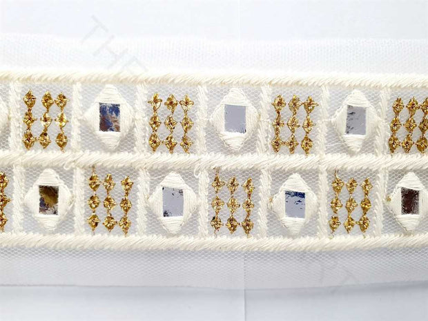 White Golden Thread and Mirror Work Dyeable Embroidered Border | The Design Cart