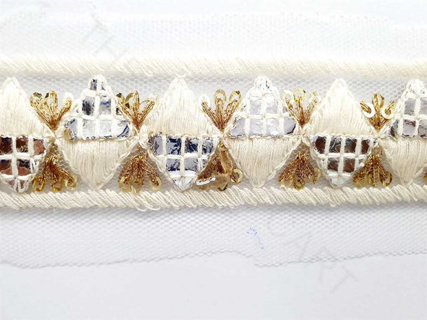 White Golden Thread and Mirror Work 2 Dyeable Embroidered Border | The Design Cart