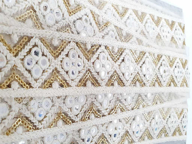 White Golden Geometric Thread and Mirror Work Dyeable Embroidered Border | The Design Cart