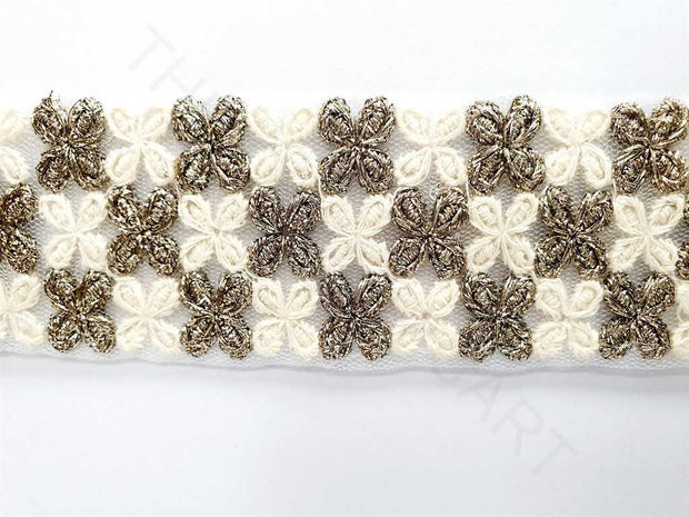 White Flower Thread Work Dyeable Embroidered Border | The Design Cart
