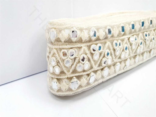 White Thread and Mirror Work Dyeable Embroidered Border | The Design Cart