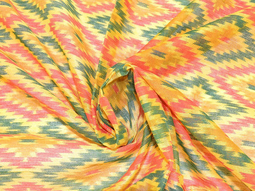 Yellow Red Ikkat Print Chanderi Polyester Fabric