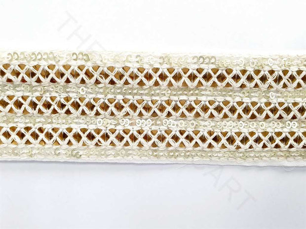 White Sequins and Thread Work Dyeable Embroidered Border | The Design Cart