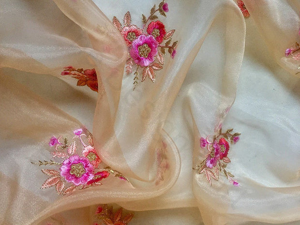 Off White Flower Design 4 Embroidered Organza Fabric | The Design Cart