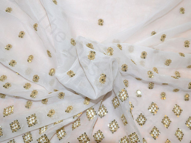 White Sequins Square Border Design Viscose Georgette Fabric | The Design Cart