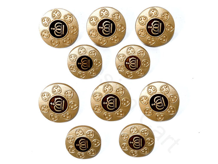 Golden Brown Crown Metal Suit Buttons | The Design Cart (1788517941282)