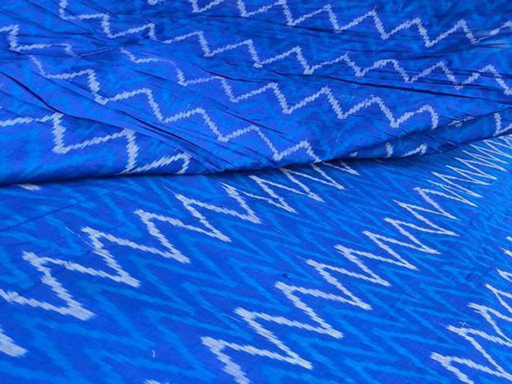 Bright Blue Chevron Pure Hydrabadi Silk Ikkat Fabric (4567410212933)