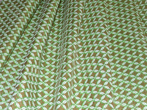 White and Gold Floral Design on Green Base Chanderi Fabric