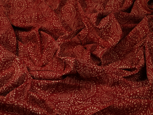 Maroon Paisleys Handblock Printed Cotton Fabric