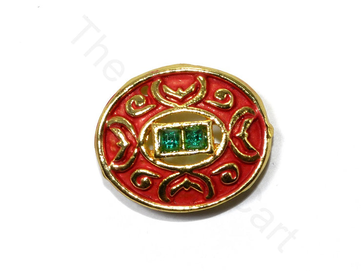 Red Oval Shape Kundan Buttons | The Design Cart (1763879845922)