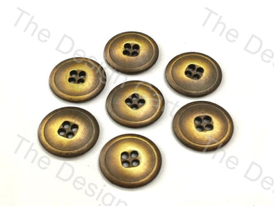 Wooden Finish Golden Round Metal Buttons - The Design Cart