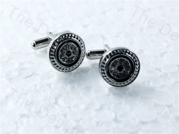 Round Gear Black Circle Design Silver Metallic Cufflinks (1364874362914)