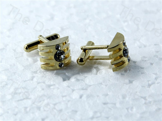 Square Stone Clamp Design Golden Metallic Cufflinks (1364874493986)