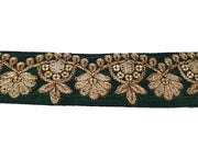 Dark Green Zari Work Embroidered Border | The Design Cart