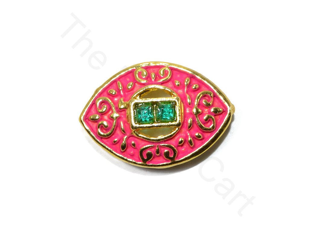 Dark Pink Eye Shape Kundan Buttons