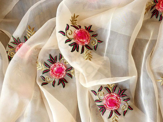 Off White Flower Design 5 Embroidered Organza Fabric | The Design Cart