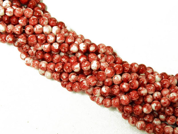 Red White Spherical Glass Pearls | The Design Cart