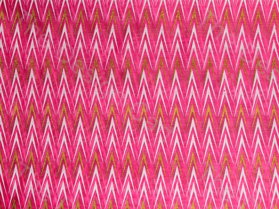 White and Gold Broken Chevron Design On Pink Cotton Fabric