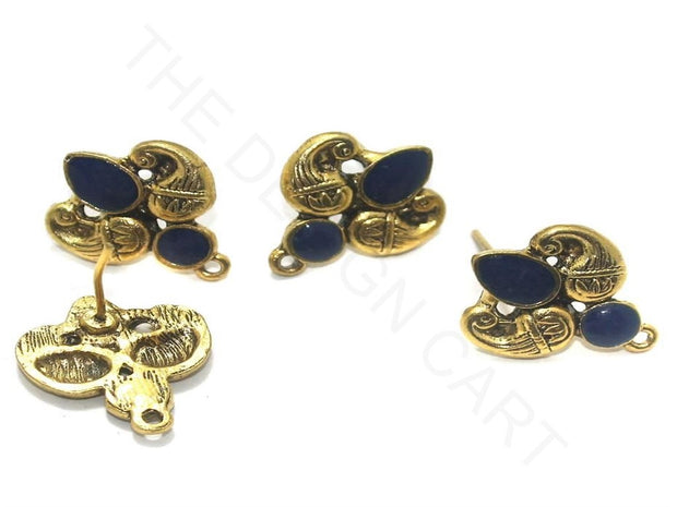 Blue Golden 2 Meenakari German Silver Earring Components (18x19 mm) | The Design Cart