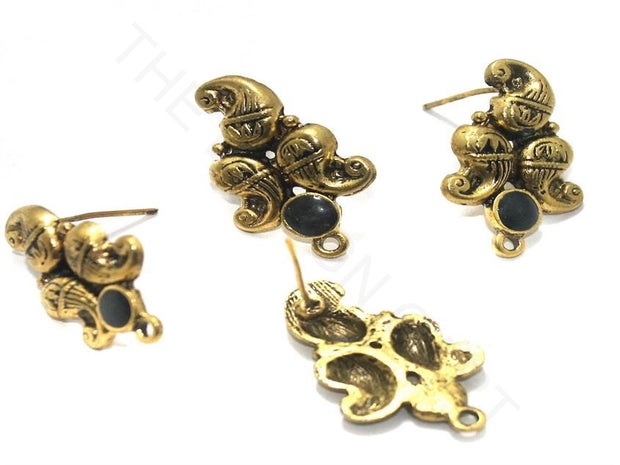 Golden Black Peacock Meenakari German Silver Earring Components | The Design Cart