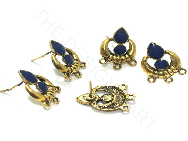 Blue Golden Meenakari German Silver Earring Components | The Design Cart