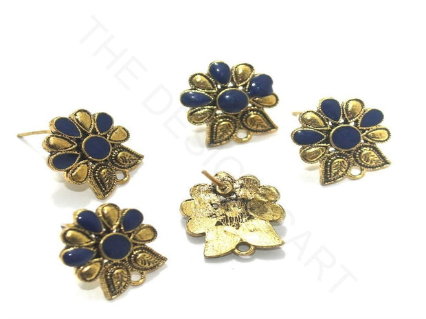 Blue Golden Meenakari German Silver Earring Components (18x19 mm) | The Design Cart