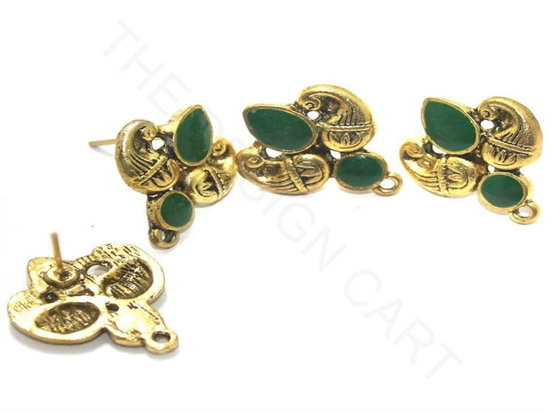 Green Golden Meenakari German Silver Earring Components | The Design Cart