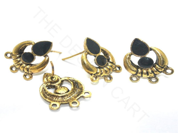 Black Golden Meenakari German Silver Earring Components (18x19 mm) | The Design Cart