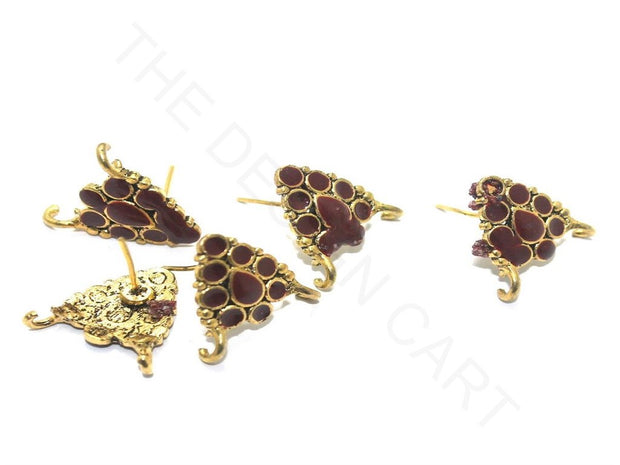 Maroon Golden Meenakari German Silver Earring Components | The Design Cart