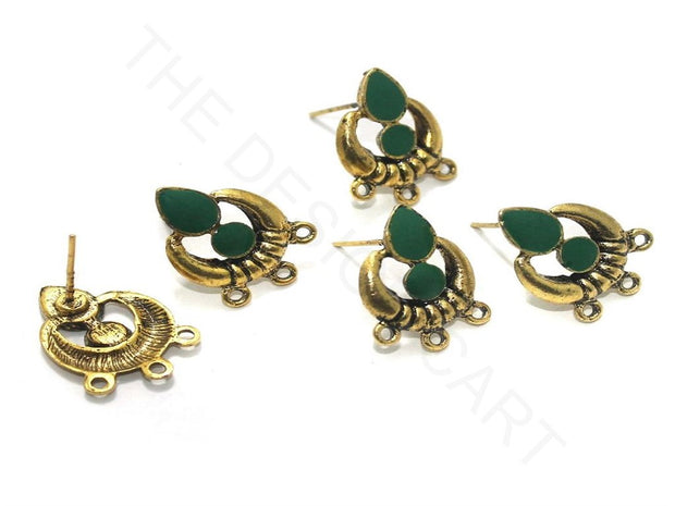 Green Golden Meenakari German Silver Earring Components (18x19 mm) | The Design Cart