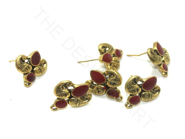 Red Golden Meenakari German Silver Earring Components (18x19 mm) | The Design Cart