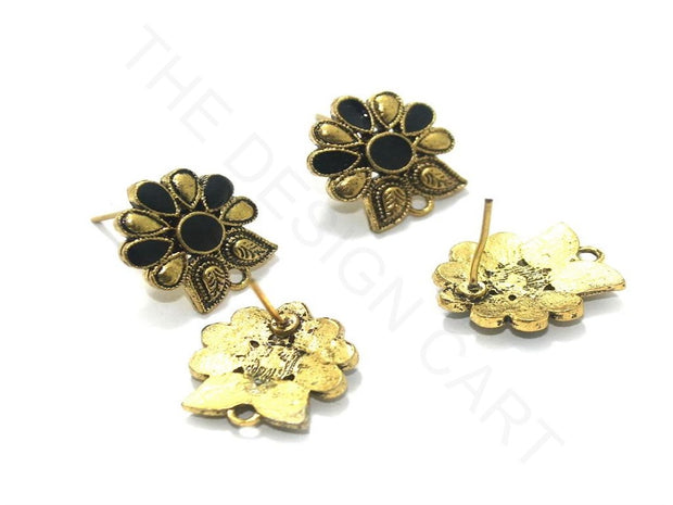 Black Golden 2 Meenakari German Silver Earring Components (18x19 mm) | The Design Cart
