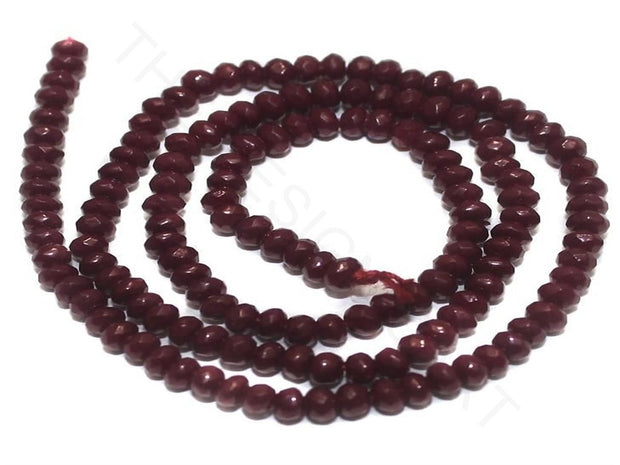Red Faceted Tyre Jaipuri Glass Beads | The Design Cart