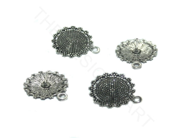 Silver Circular Round German Silver Earring Components | The Design Cart