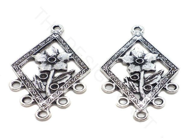 Silver Rhombus Flower German Silver Earring Components | The Design Cart