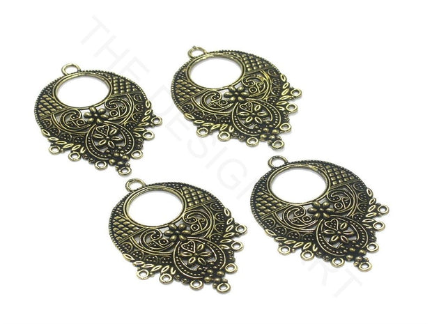 Golden Designer Round German Silver Earring Components | The Design Cart