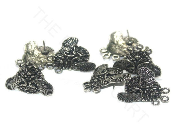 Silver Peacock German Silver Earring Components (22x21 mm) | The Design Cart