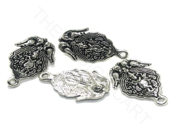 Silver Bird Oval German Silver Earring Components | The Design Cart