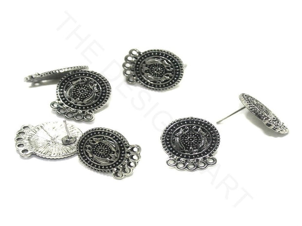 Silver Circular German Silver Earring Components (17x15 mm) | The Design Cart