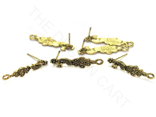 Golden Peacock German Silver Earring Components (25x7 mm) | The Design Cart