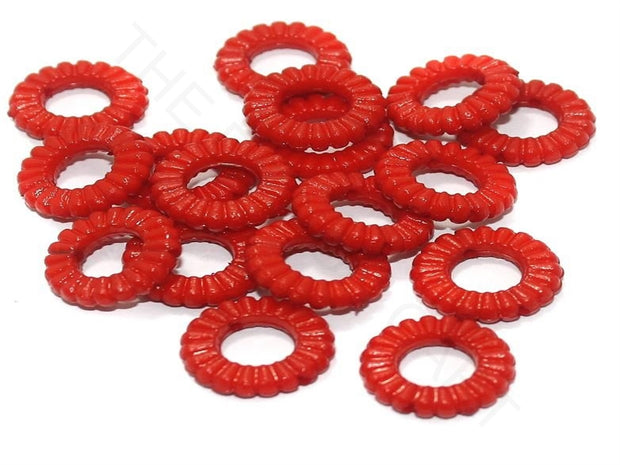 Bright Red Ring Acrylic Beads | The Design Cart