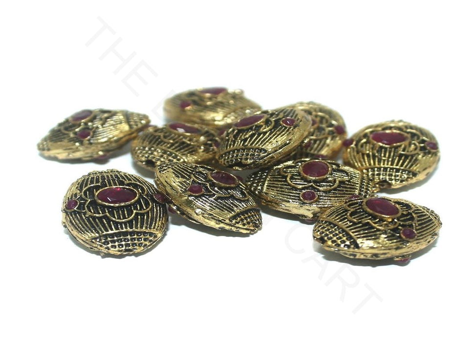 Golden Maroon Oval German Silver Gemstone Beads