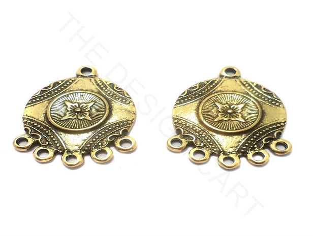 Golden Circular German Silver Earring Components (29x23 mm) | The Design Cart