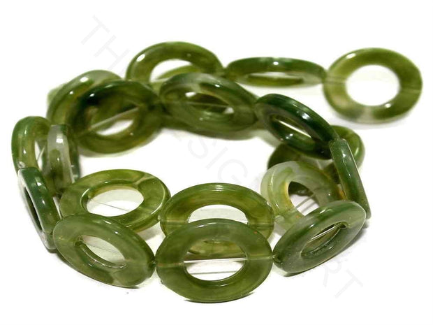 Olive Green Ring Acrylic Beads | The Design Cart