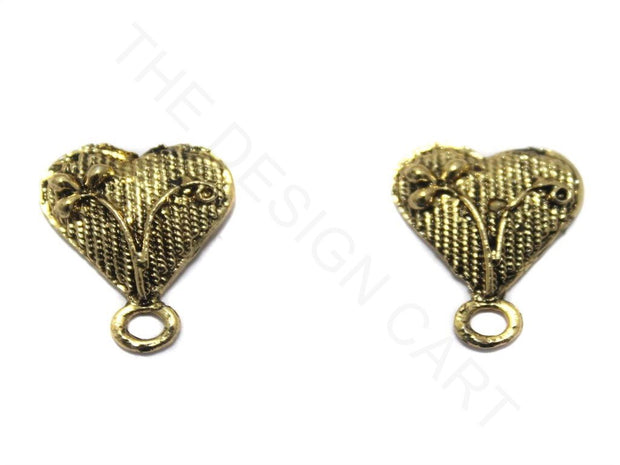 Golden Heart German Silver Earring Components | The Design Cart