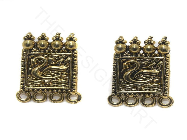 Golden Square Designer German Silver Earring Components | The Design Cart