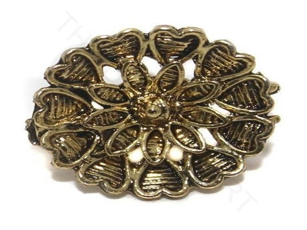 Golden Flower German Silver Earring Components (17 mm) | The Design Cart